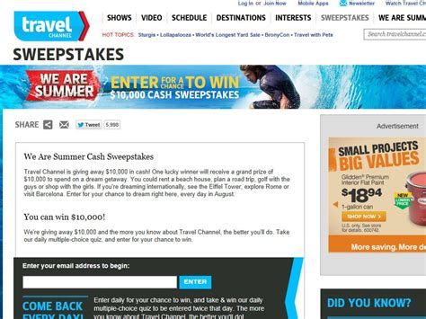 Travel Channel Com Sweepstakes - travel channel we are summer sweepstakes