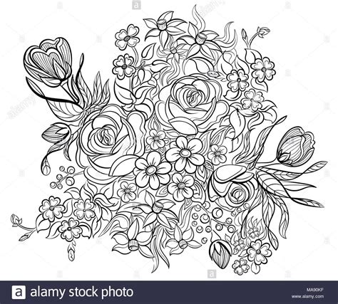 anti stress coloring book floral elements and leaves for coloring book anti stress