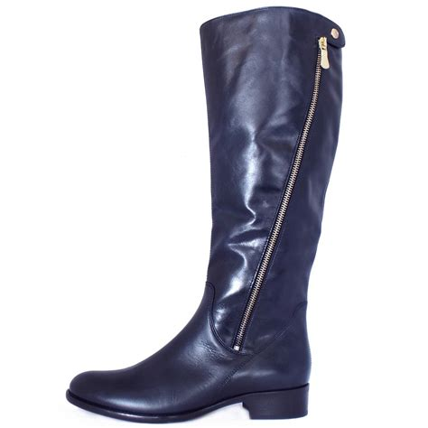 womens leather boots gabor dawson s modern knee high navy leather boots