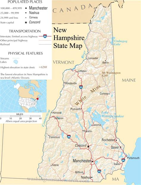 New Hshire Search New Hshire State Map A Large Detailed Map Of New Hshire State Usa
