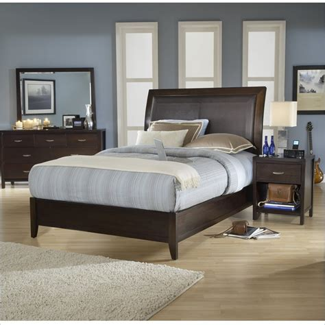 Low Bed Sets Modus Loft Low Profile Wood Sleigh Bed In Chocolate Brown 4 Bedroom Set 2o26lx Pkg2