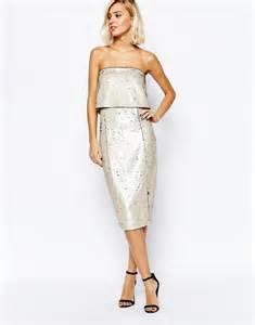 lavish alice lavish alice pealised amp gold reverse sequin bandeau cropped midi dress at asos