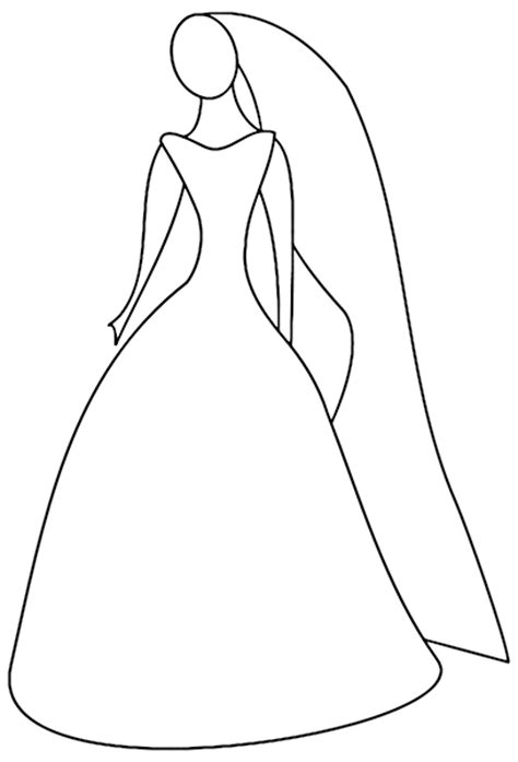 Simple Outline Of Women In Her Wedding Dress Dress Coloring Pages For Free