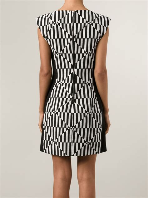 black and white geometric pattern dress gareth pugh geometric pattern fitted dress in black lyst