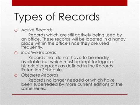 Types Of Records Document And Records Records Management