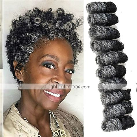 kanekolan hair black white grey crochet bouncy curl twist braids kinky curly hair