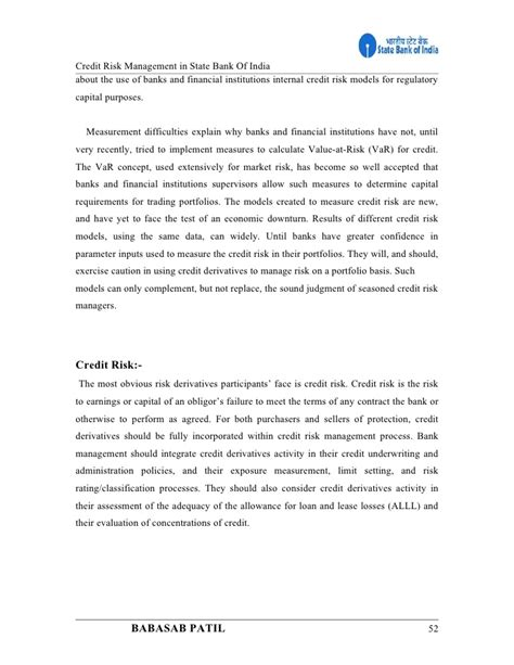 Portfolio Management Project Report Mba by Credit Risk Management State Bank Of India Project