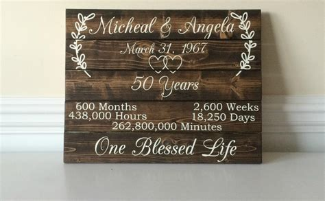 50th Wedding Anniversary Ideas by 50 Year Anniversary 50th Anniversary Ideas Custom Wood Sign