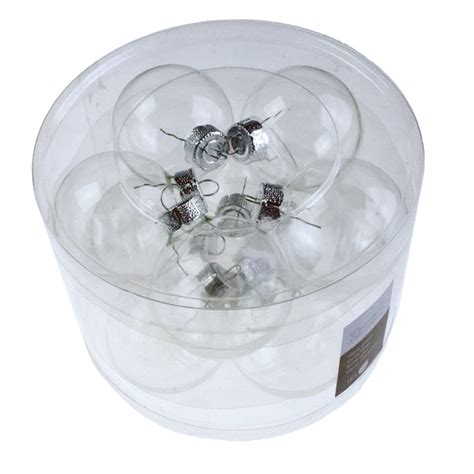 tub of clear glass baubles 10 x 60mm baubletimeuk