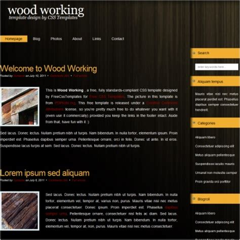 woodworking  website templates  css html js format