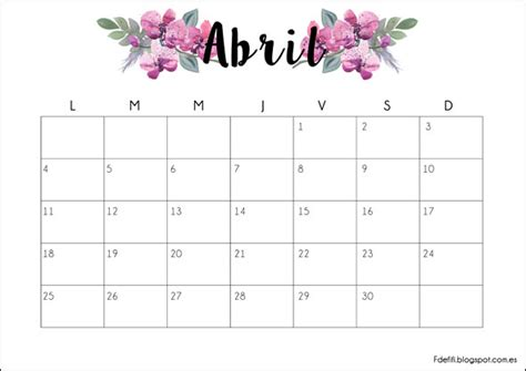calendario d abril asignacion 2017 imprimible gratuito calendario para abril 2016 blog f