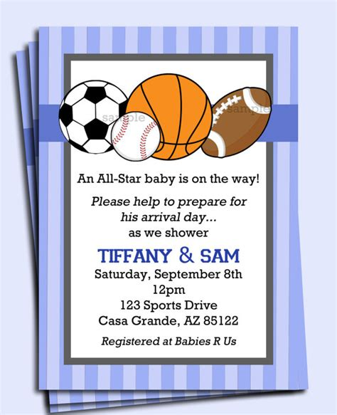 sports baby shower invitations templates all sports invitation printable or printed with free