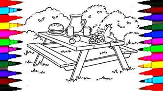colours for kids picnic table coloring pages l how to draw