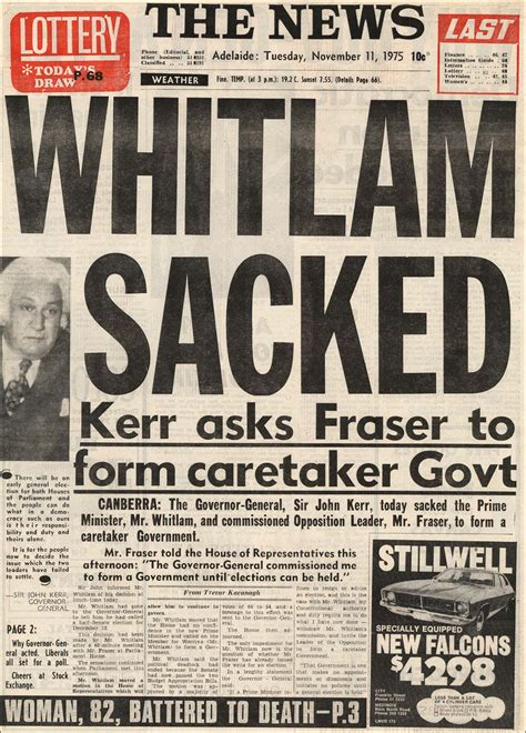Dismissal Of Gough Whitlam Essay by Whitlam Sacked Front Page Of Adelaide News