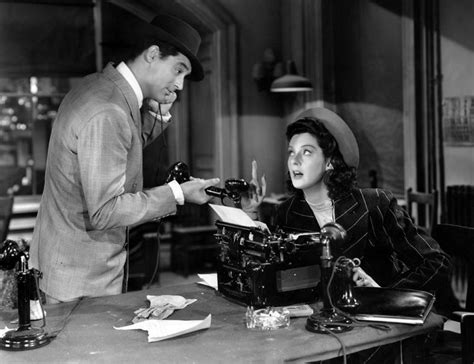 themes in his girl friday very little respect for the press around here