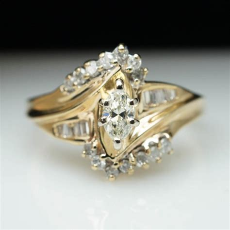 vintage 40ct marquise cut engagement ring 14k