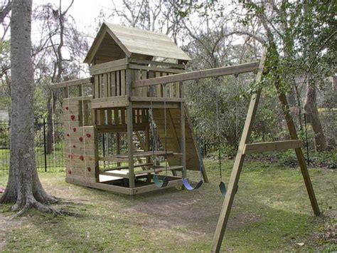 gemini playset diy wood fort  swingset plans swing