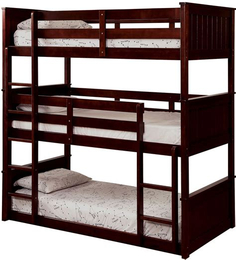 Decker Bunk Bed Therese Espresso Triple Twin Decker Bunk Bed Cm Bk628