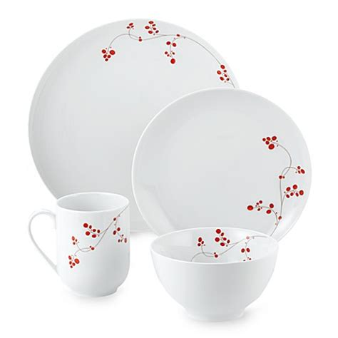 bed bath beyond dishes mikasa 174 gourmet basics red berries 16 piece dinnerware set