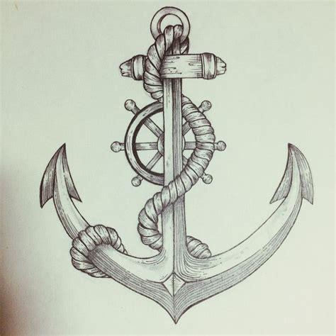 drawn tattoo anchor pencil and in color drawn tattoo anchor