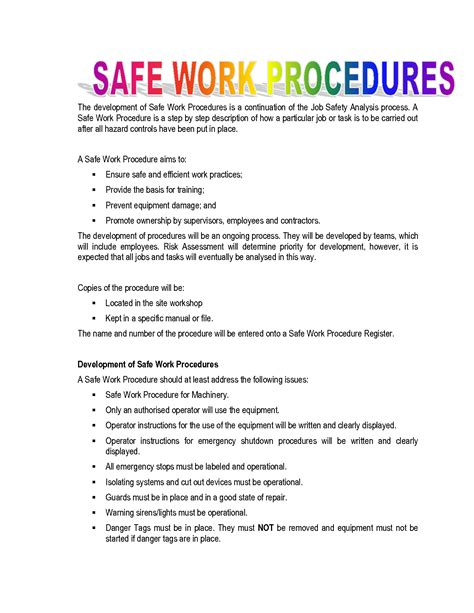 work procedures template best photos of procedure template safe work