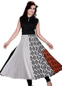 black amp white cotton net anarkali suit