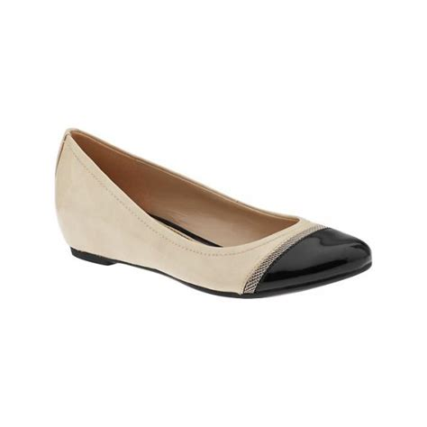 nehara pale ivory black patent wedge ballet