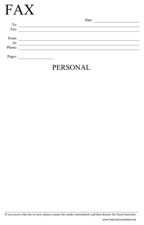 personal fax cover sheet for excel pdf and word