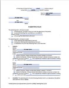 shared parenting plan template florida shared parenting plan forms