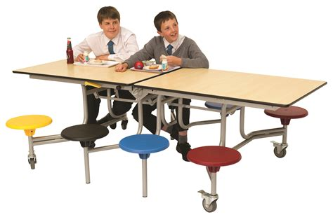 Rectangular Mobile Folding Table Dining Canteen 8 Seat Mobile Dining Table