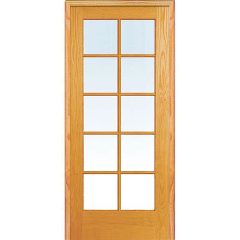 Wood Interior Doors With Glass Mmi Door 31 5 In X 81 75 In Classic Clear Glass 10 Lite True Divided Unfinished Pine Wood
