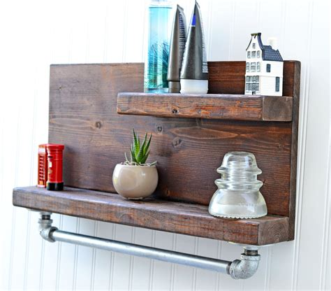 Rustic Decor Shelf With Iron Pipe Towel Rack Bath Shelf Bath Bathroom Towel Racks Shelves