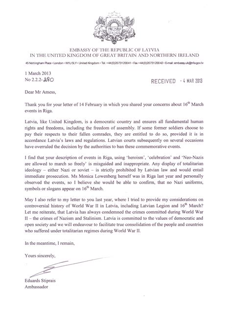 Invitation Letter Sle To Ambassador Letter From Ambassador Of Latvia March 2013 Jpg
