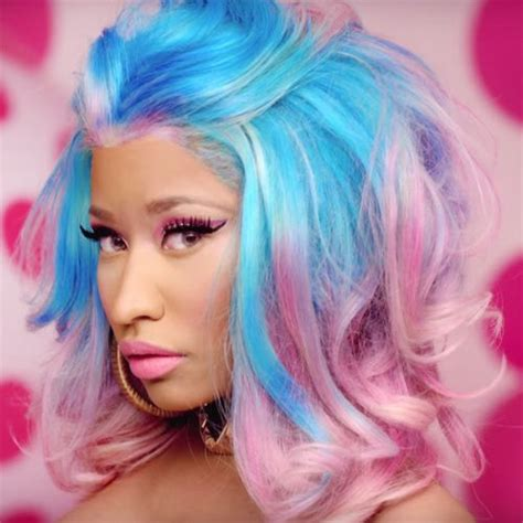 Nicki Minaj Hairstyles by Nicki Minaj Wavy Blue Pink Pompadour Two Tone Uneven