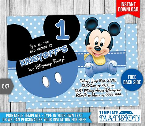 baby mickey mouse invitation template baby mickey mouse birthday invitation by templatemansion