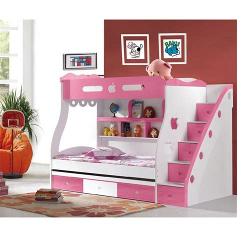 Chic White Pink Girls Bunk Bed Design For Cheerful Girls Pink Bunk Beds For