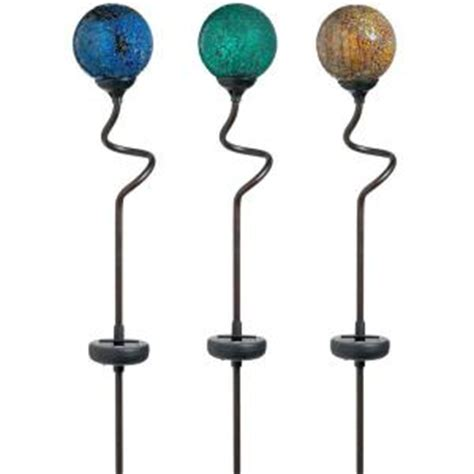 Solar Lawn Lights Home Depot - hampton bay 3 light outdoor solar led mosaic balls 3 pack avi depot much more value for your