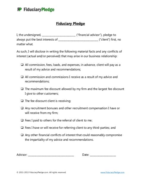 Fiduciary Agreement Template Fiduciary Pledge