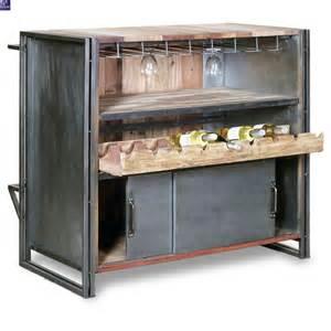 meuble bar industriel le syle loft en m 233 tal et bois