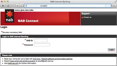 nab bank site phishing alert 1 new message from national australia bank