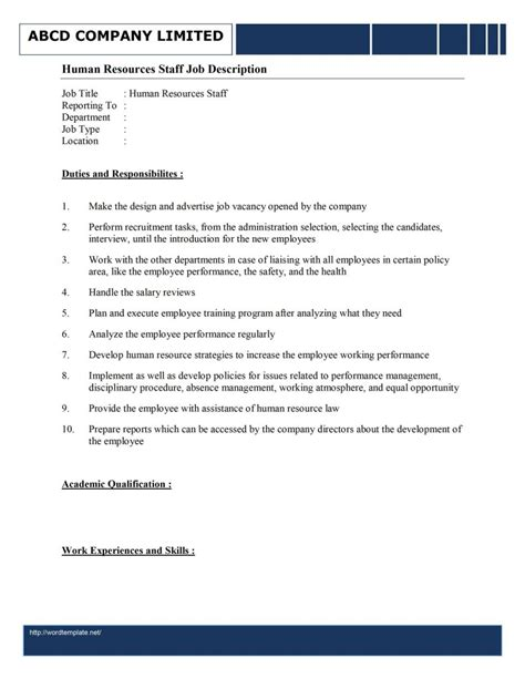 human resources description template cover letter resume and description for human