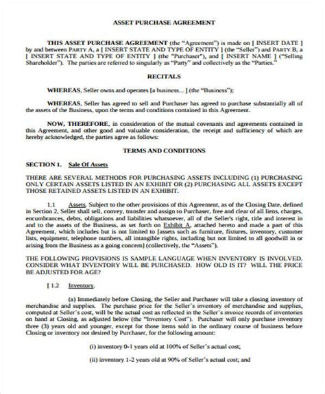 asset purchase agreement template 41 free sle agreements