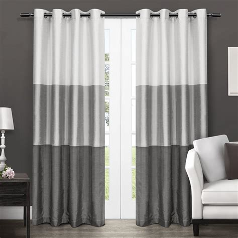 faux silk grommet curtains com exclusive home chateau striped faux silk