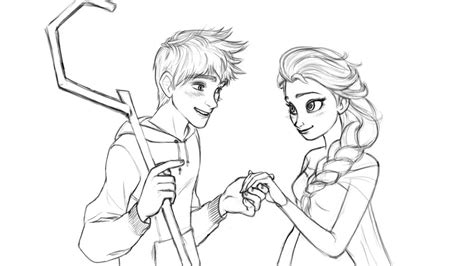 coloring pages elsa and jack jack frost and queen elsa by onceinawhile89 on deviantart