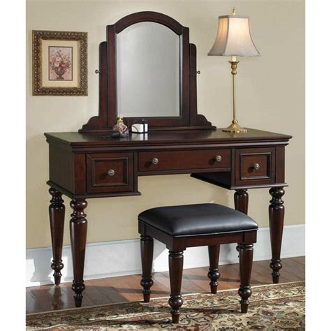Cherry Makeup Vanity by Vanity Table Bench Set Dresser Jewelry Makeup