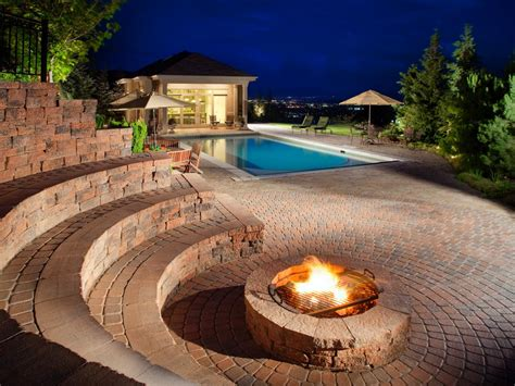 pool fire pit 10 pool deck and patio designs outdoor design