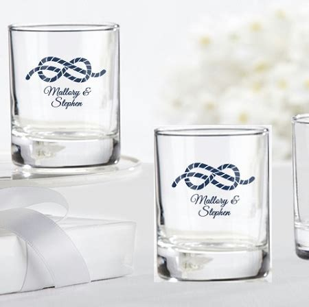 custom nautical shot glass wedding favors rope design
