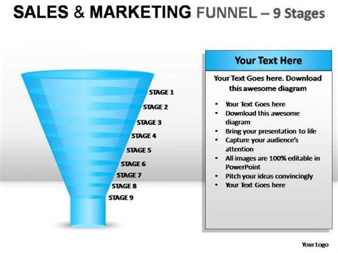 Sales And Marketing Funnel 9 Stages Powerpoint Presentation Slides Sales Presentation Slides
