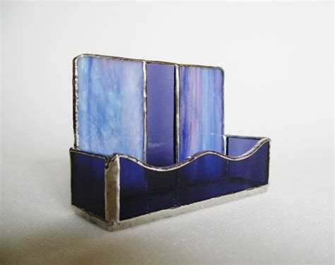 Glass Desk Accessories Business Card Holder Stained Glass Purple Lavender Glass Desk Accessory Office Decor