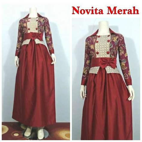 jual baju gamis batik wanita modern kombinasi velvet